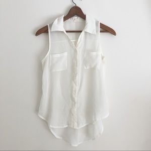 Anthropologie White Sheer Collared Tank Top sz S ✨